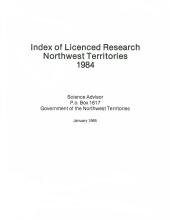 1984 Compendium of Research in the Northwest Territories