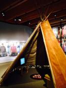 Moosehide teepee at The Thunder In Our Voices exhibit