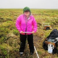 Susan Machan assisting with field work